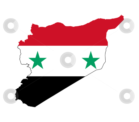 Syria map flag stock photo, Illustration of the Syria flag on map of country; isolated on white background. by Martin Crowdy