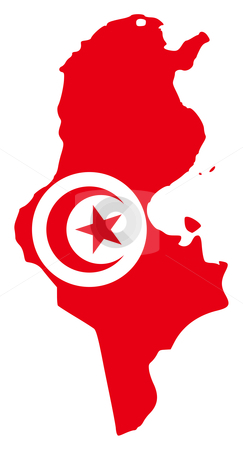 Tunisia flag on map stock photo, Illustration of the Tunisia flag on map of country; isolated on white background. by Martin Crowdy