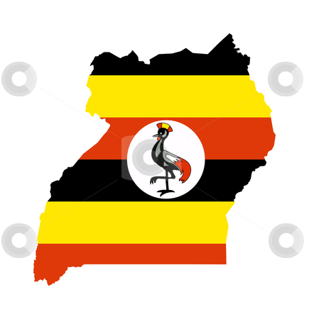 Uganda flag on map stock photo, Illustration of the Uganda flag on map of country; isolated on white background. by Martin Crowdy