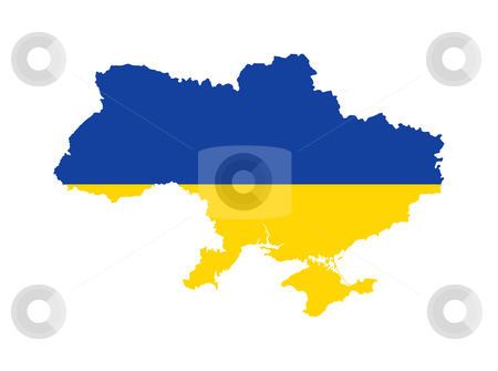 Ukraine flag on map stock photo, Illustration of the Ukraine flag on map of country; isolated on white background. by Martin Crowdy
