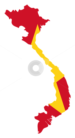 Vietnam flag on map stock photo, Illustration of the Vietnam flag on map of country; isolated on white background. by Martin Crowdy