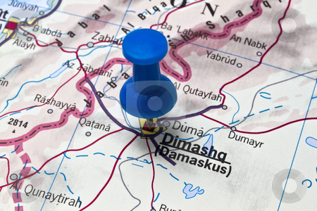 Damascus stock photo, Damascus - Syria on a map close by Ingvar Bjork