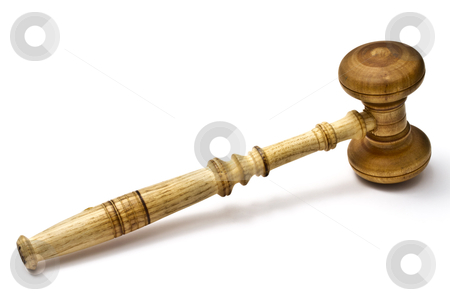 Wood gavel stock photo, Wood gavel isolated on white background   by Sasas Design