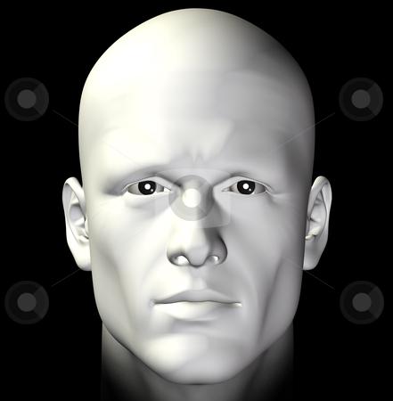 Portrait stock photo, Male figure portrait on black background. Digitally created 3d illustration. by sirylok