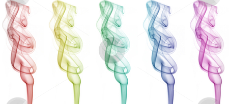 Smoke art stock photo, Smokes with different colors on white background by OZMedia