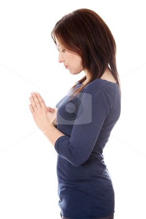 Middle aged woman praying  stock photo, Middle aged woman praying , isolated on white by Piotr_Marcinski