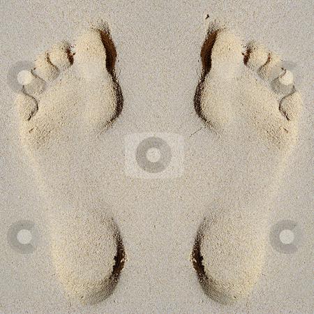Footprint in sand on beach stock photo, Footprint in sand on beach by Lars Christensen