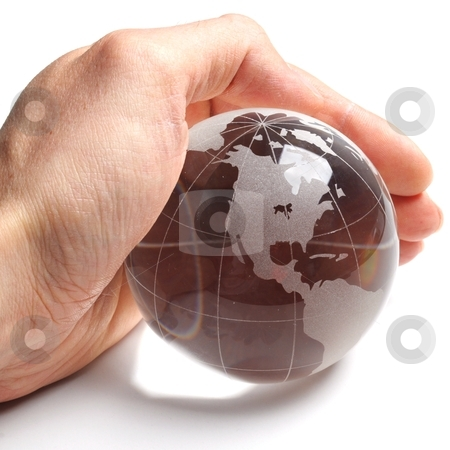 Ecology stock photo, ecology concept with hand and glass globe isolated on white background by Gunnar Pippel