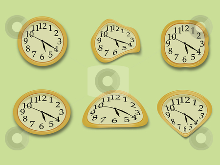 Yellow wall clock  vector illustration stock photo, Yellow wall clock on the green background by vetdoctor
