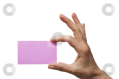 Hand holding a pink sheet of paper stock photo, hand holding a pink sheet of paper  isolated on white background by ambrophoto