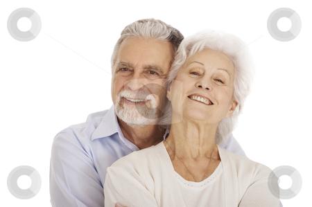 Portrait of a happy couple of elderly stock photo, portrait of a happy couple of elderly by ambrophoto