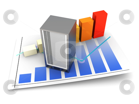 Server Statistics stock photo, Server and bandwidth statistics. 3D rendered Illsutration. Isolated on white. by Michael Osterrieder