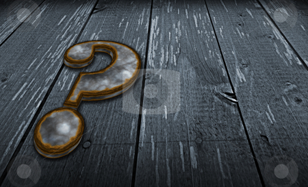 Quest stock photo, rusty question mark on wooden background - 3d illustration by J?