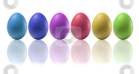 Six colored eggs stock photo, Colored eggs on a white background with reflections on the basis by Tahoo