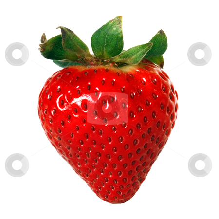 Red strawberry stock photo, red strawberry over white background by Mariusz Blach