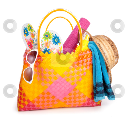 Beach bag stock photo, beach bag with towel sunglasses flip-flops and hat.isolated on white by twixx