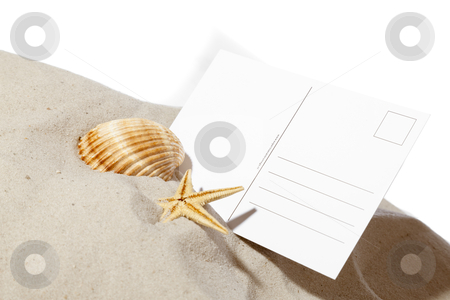 Beach concept with pile of sand and a blank card stock photo, beach concept with seashell ,starfish and a blank card with copy-space.Focus on card by twixx