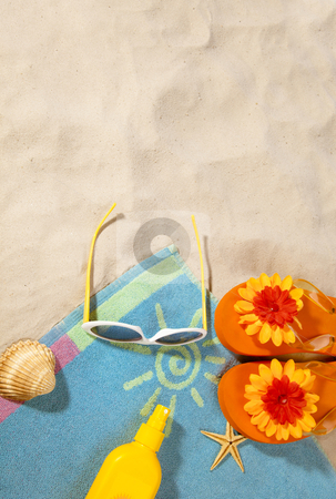 Beach concept with towel stock photo, beach items on a towel with copy-space by twixx