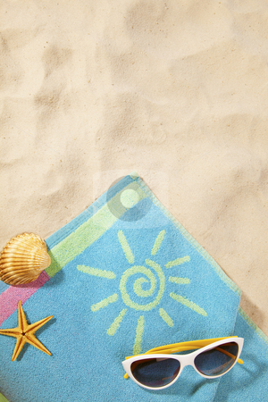 Beach concept with towel and sunglasses stock photo, beach items on a towel with copy-space by twixx