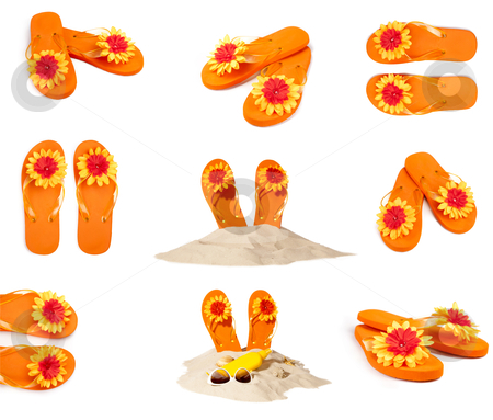 Collection flip-flops stock photo, collection sunny orange flip-flops or sandals  by twixx