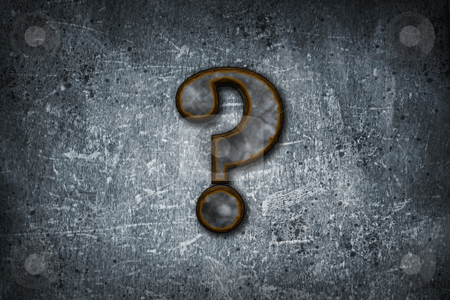 Rusty question mark stock photo, rusty question mark on grunge background - 3d illustration by J?