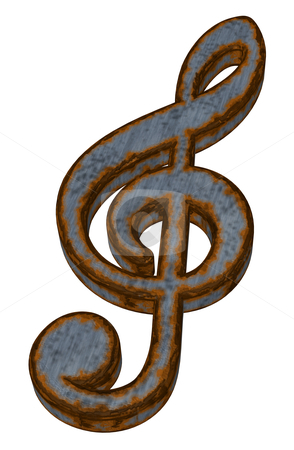 Rusty music stock photo, rusty clef on white background - 3d illustration by J?