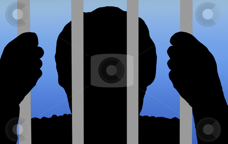 Man behind bars in prison stock photo, illustration of a man behind bars on a gradient background by digitalreflections
