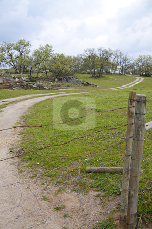 Countryside path stock photo, Countryside path with wired fence by Neonn