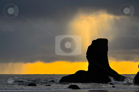 Shaft of light breaks through the cloud at Second Beach stock photo, Shaft of light breaks through the cloud at Second Beach by JayMudaliar