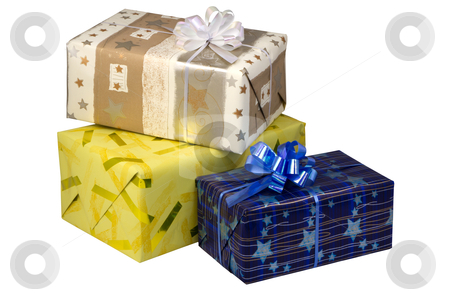 Gift boxes  at Christmas or New Year stock photo, gift boxes  at Christmas or New Year, isolated on white background. by Valery Kraynov