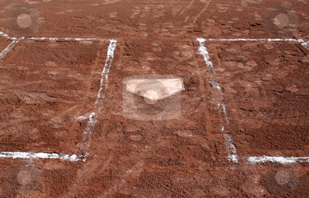 Batters Boxes stock photo, A closeup of a home plate and batter's box. by Chris Hill