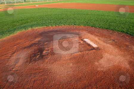 Pitchers Mound stock photo, A shot of a baseball field from right behind the pitchers mound. by Chris Hill