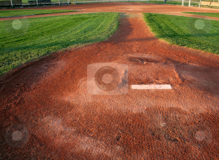 On the Mound stock photo, A view from directly behind a pitchers mound. by Chris Hill