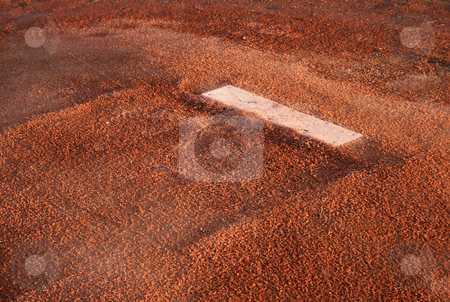 Pitchers Mound stock photo, A closeup of the rubber on the pitchers mound. by Chris Hill