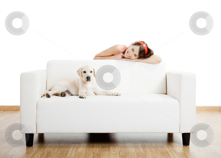 Girl with her best friend stock photo, Young beautiful woman at home with her cute dog by ikostudio