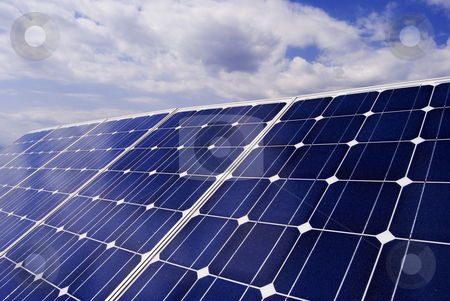 Solar panel detail stock photo, Solar panel detail. ecological solar power station by freeteo