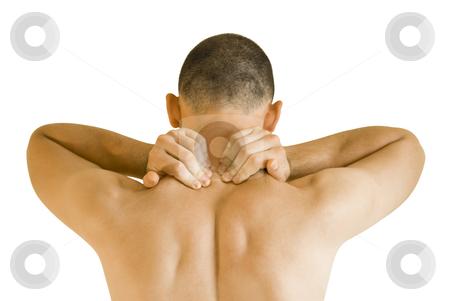 Neck ache stock photo, young man having neck ache making massage by Desislava Dimitrova