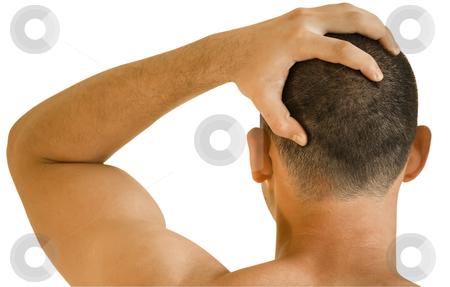 Headache stock photo, young man having headache making massage by Desislava Dimitrova