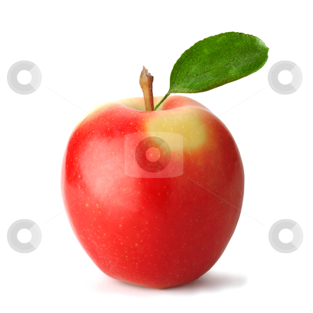 Fresh red apple stock photo, Fresh red apple with leaf. The file includes a clipping path.  Professionally retouched high quality image. by Roman Shyshak
