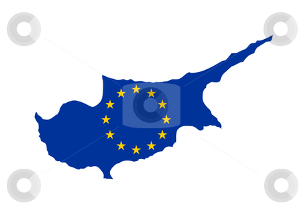 EU flag on Cyprus map stock photo, European flag on mag of Cyprus; isolated on white background. by Martin Crowdy
