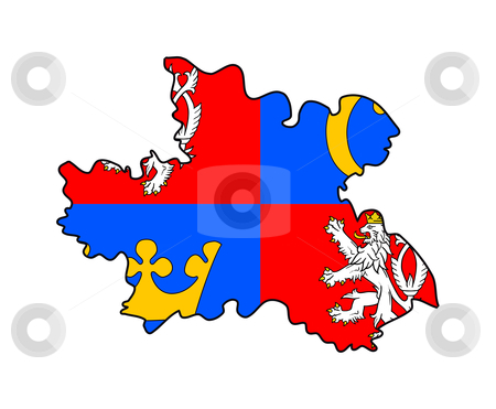 Hradec Kralove state flag and map stock photo, Flag of Hradec Kralove region of Czech Republic on map; isolated on white background. by Martin Crowdy