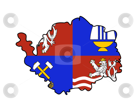 Karlovy Vary state flag and map stock photo, Flag of Karlovy Vary region of Czech Republic on map; isolated on white background. by Martin Crowdy