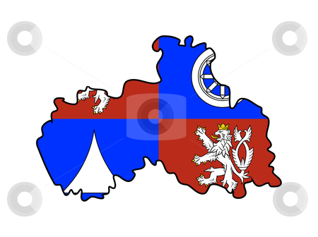 Liberec state flag and map stock photo, Flag of Liberec region of Czech Republic on map; isolated on white background. by Martin Crowdy