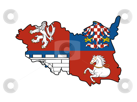 Pardubice flag and map of region stock photo, Flag of Pardubice region of Czech Republic on map; isolated on white background. by Martin Crowdy