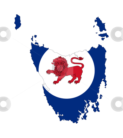 Tasmania flag and map stock photo, State flag of Tasmania on map; isolated on white background. by Martin Crowdy