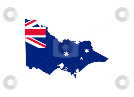 Victoria state flag and map stock photo, State flag of Victoria, Australia on map; isolated on white background. by Martin Crowdy