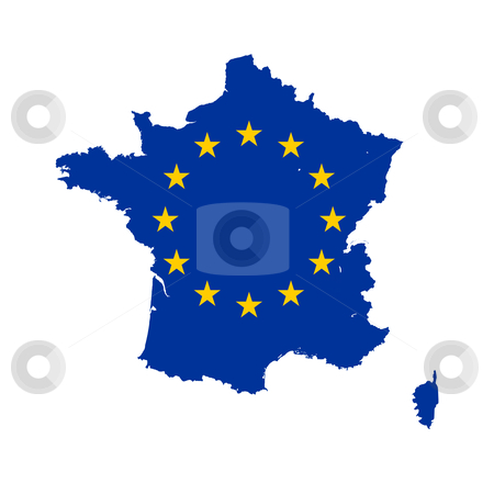 EU flag on France map stock photo, European flag on mag of France; isolated on white background. by Martin Crowdy