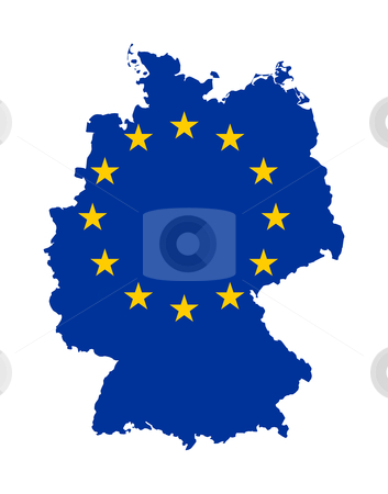 EU flag on map of Germany stock photo, European flag on mag of Germany; isolated on white background. by Martin Crowdy