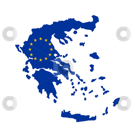 EU flag on map of Greece stock photo, European flag on mag of Greece, Greek; isolated on white background. by Martin Crowdy