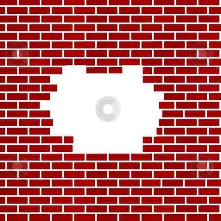 Hole in red brick wall background stock photo, Hole in background of dark red bricks; isolated on white background with copy space. by Martin Crowdy